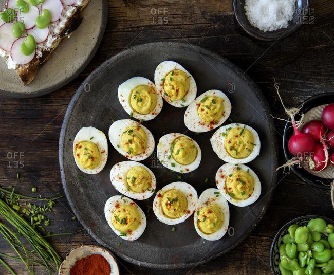 Deviled eggs and veggies