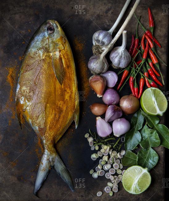 Pompano with sambal matah ingredients