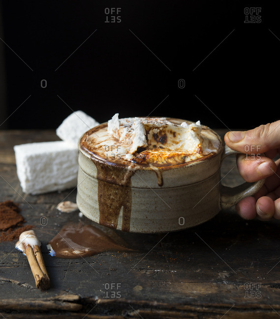Thick dark hot chocolate with marshmallows