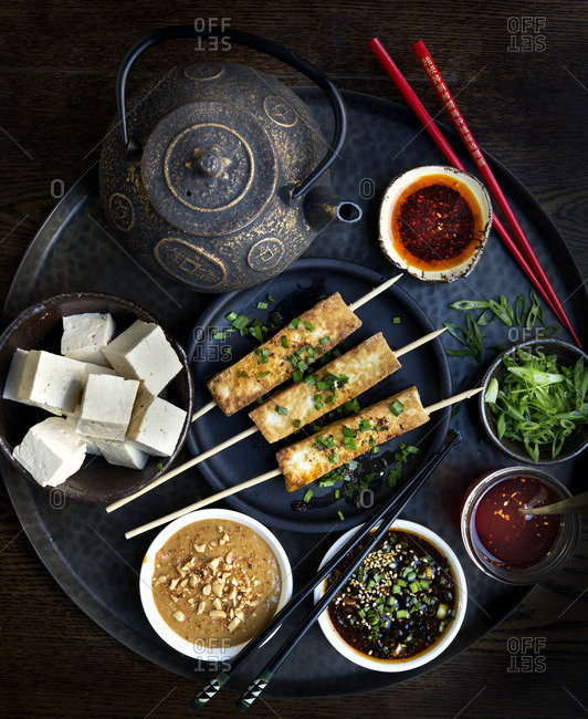 Tofu with dipping sauces