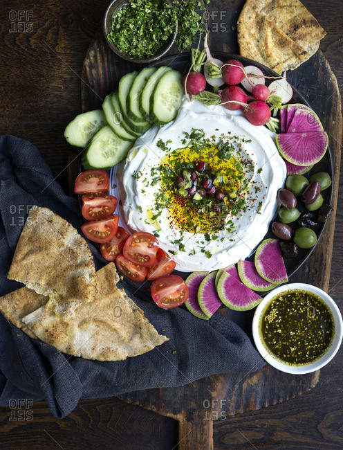 Labneh with vegetables