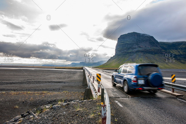 Vehicle on bridge over Skeidarasandur, south Iceland