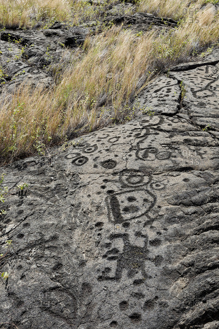Petroglyphs, Volcanoes National Park, Big Island Hawaii