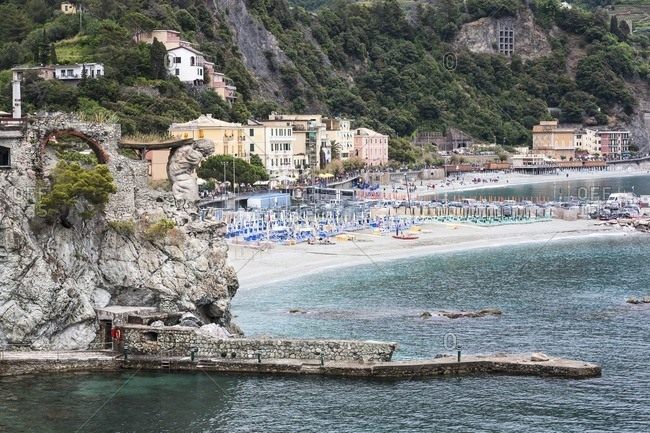 Remains of the Monterosso Giant overlooking the beach in Monterosso al Mare Italy