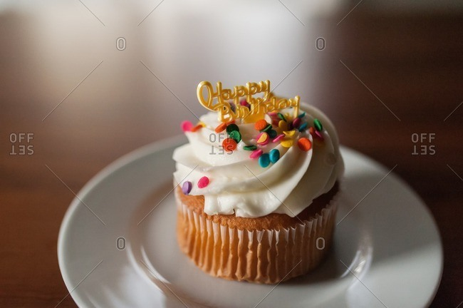 Birthday cupcake with sprinkles