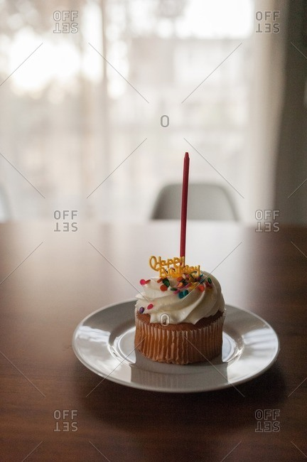 Birthday cupcake with unlit candle