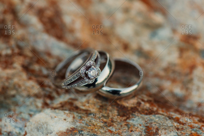 Silver and diamond wedding bands