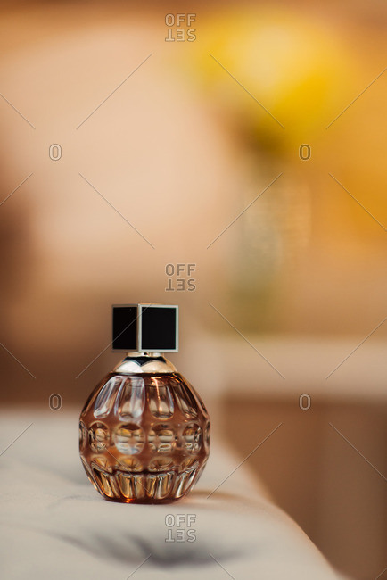 Bottle of fragrance in close up