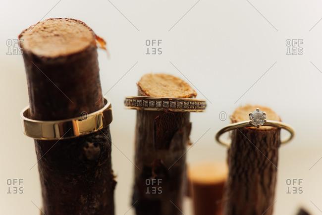 Wedding bands on a stick