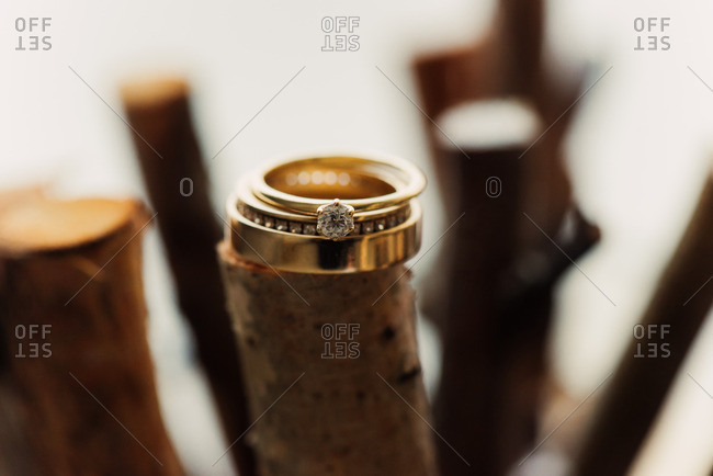 Wedding bands on sticks