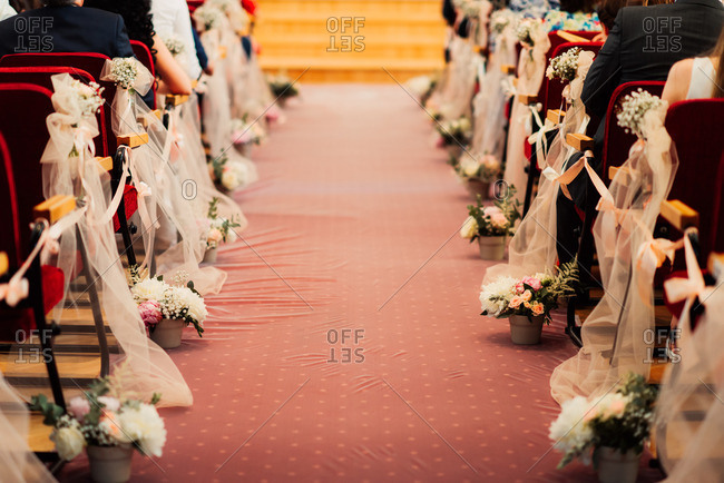 Decorations along wedding aisle