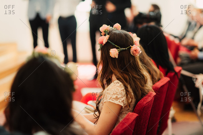 Bridesmaid watching a wedding