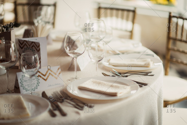 A wedding reception table in close up