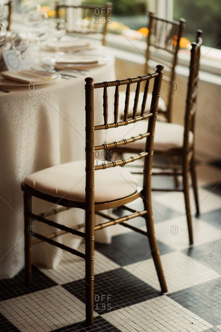 Chair by wedding reception table