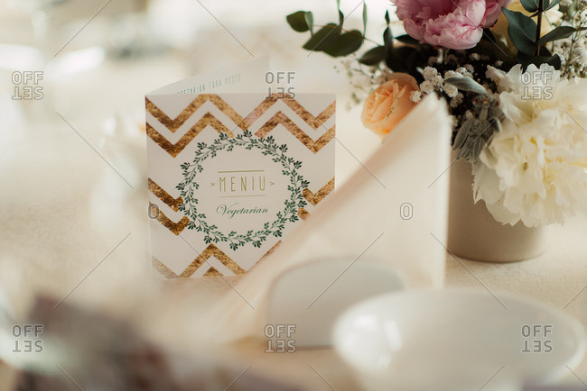 Menu card on wedding table