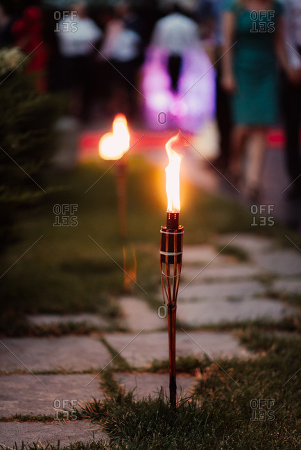 Torches along a path during party