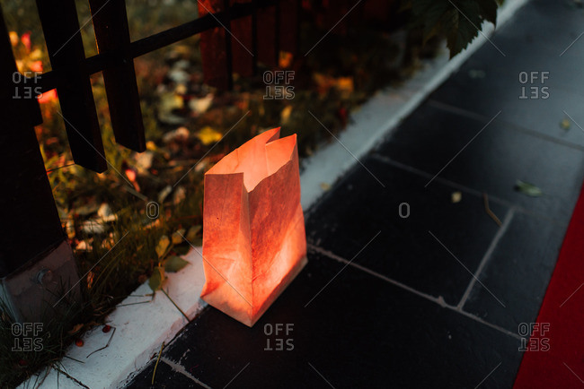 Paper bag light on ground