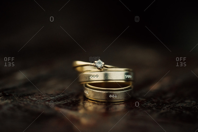 Gold wedding bands with engravings