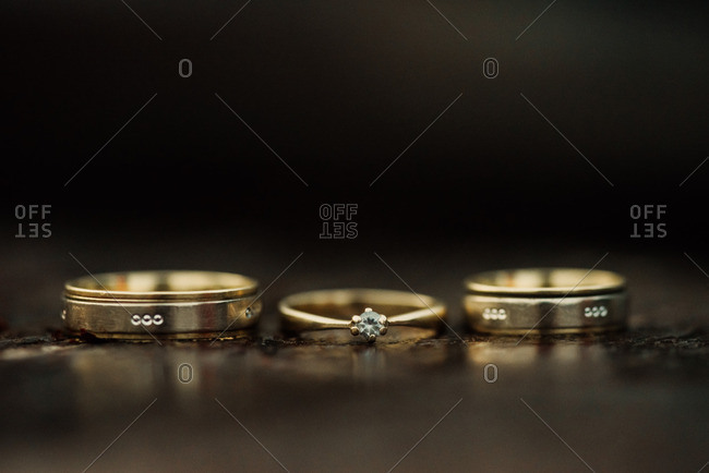 Gold wedding bands side by side