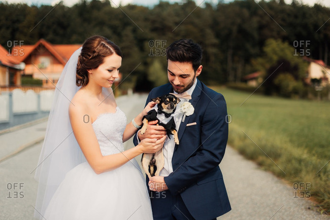 Bride and groom holding a dog dressed in tuxedo outfit