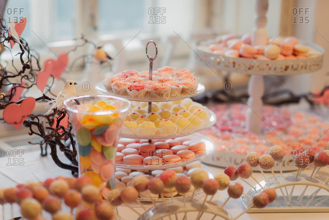 Treats on a sweets table at a wedding