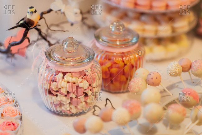 Candy and treats on a dessert table at a wedding
