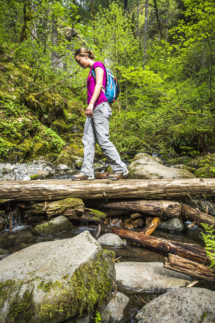 Columbia river gorge, or, usa a woman wearing a backpack walks across a narrow log in a lush green forest