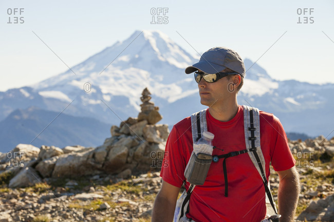 Portrait of a backpacker enjoying north cascades national park near mount baker