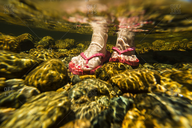 Underwater view of woman leg wearing pink flip flop on stones