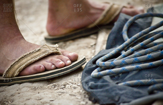 Climbing rope and flip-flops essentials for the Austin climbing scene