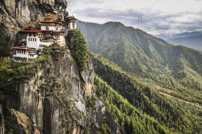 Taktsang monastery on a cliff high above paro valley