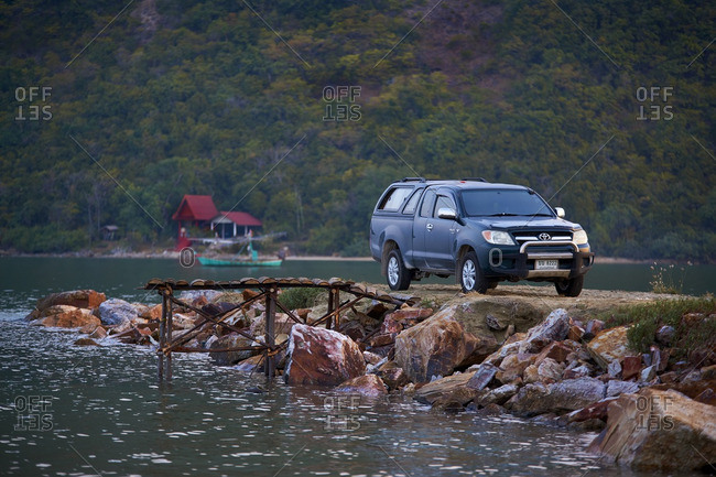 Truck parked on a Jetty