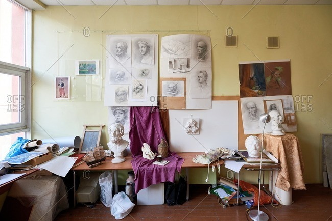 Chelyabinsk-city, Russia - 9/29/16:  Large art studio with classic head sculptures, drawings, canvas and beautiful pencil sketches on the wall