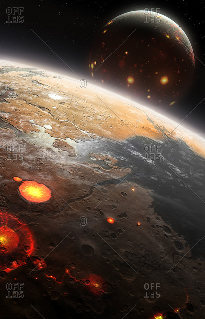 Artwork of early Earth-Moon system