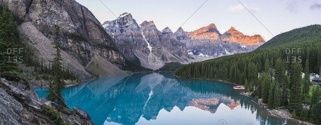 Lake moraine at sunrise, rocky mountains, Alberta, Canada