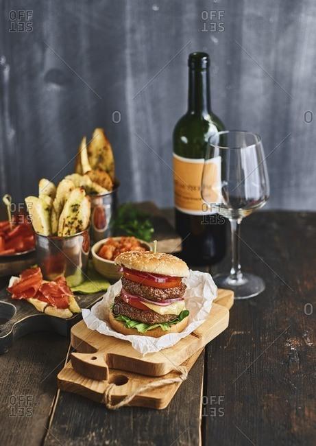 Double hamburger in studio shot