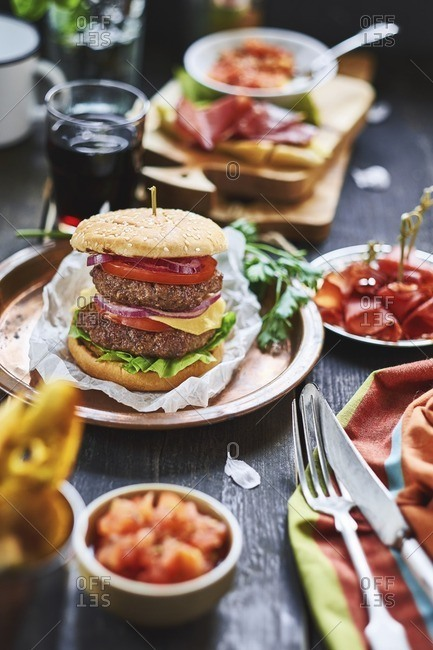 A double hamburger on plate