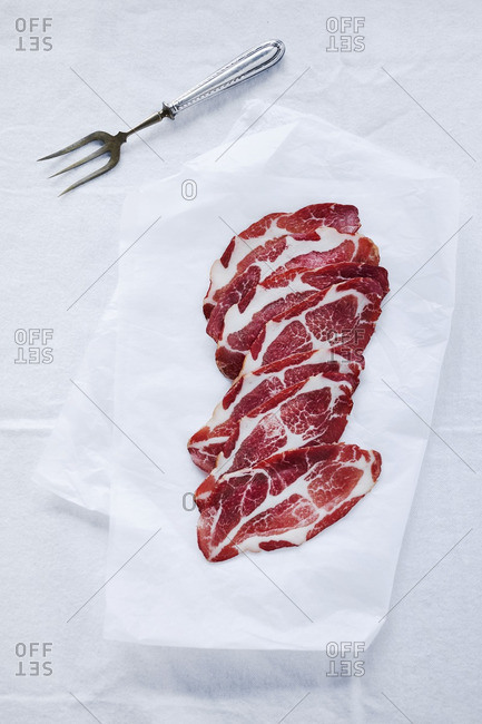 Thin slices of marbled meat