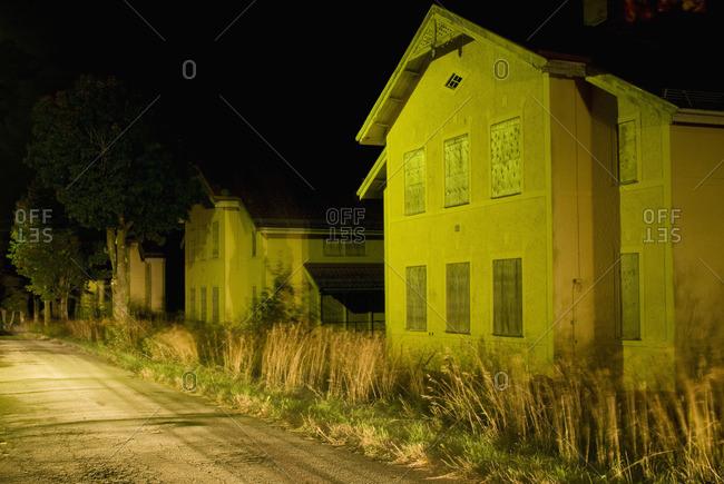 Houses illuminated at night
