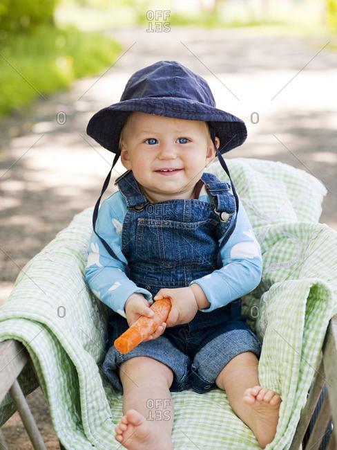 Portrait of baby boy in wagon