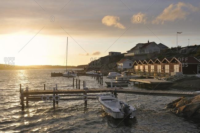 Sweden - September 29, 2010: View of coastal cottages