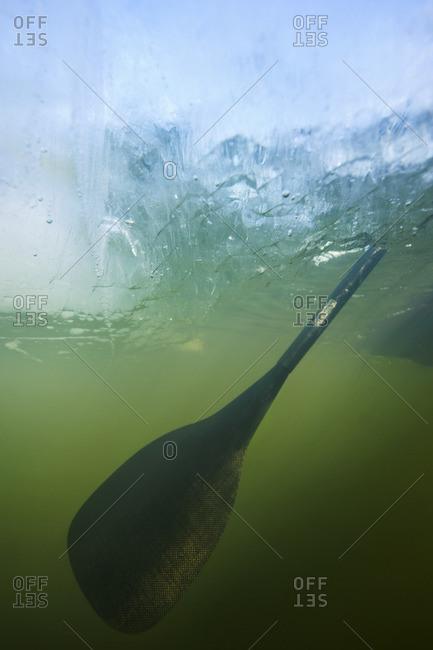 Oar underwater, close-up