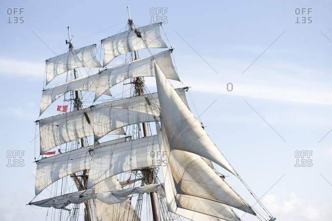 White sails of sailing ship