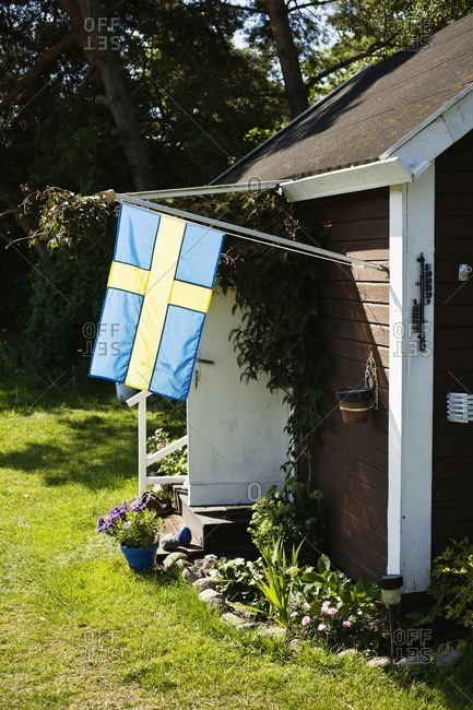 Swedish flag on house