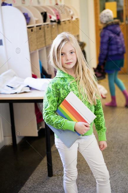 Portrait of girl on school corridor