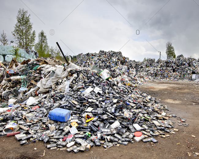 Sweden - September 21, 2011: Heap of old plastic rubbish on garbage dump