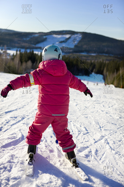 A girl in a ski slope