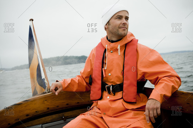 A man dressed in rain clothes