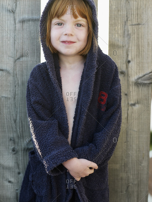 Girl wearing bathrobe