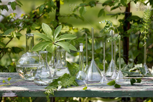 Vases on garden table